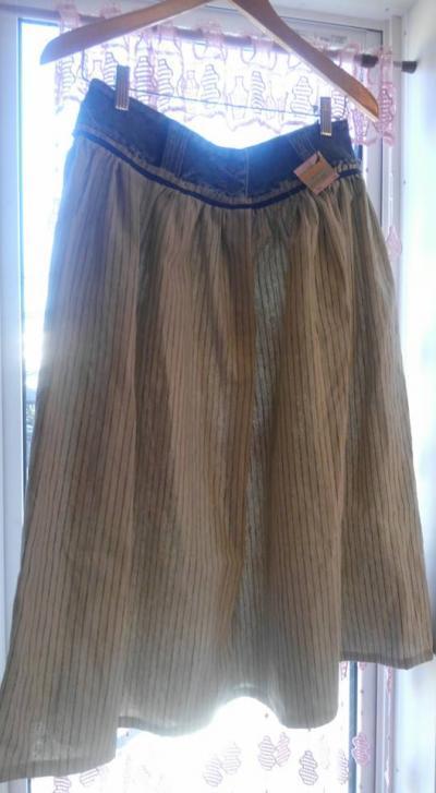 ストライプリネンリメイクスカート
