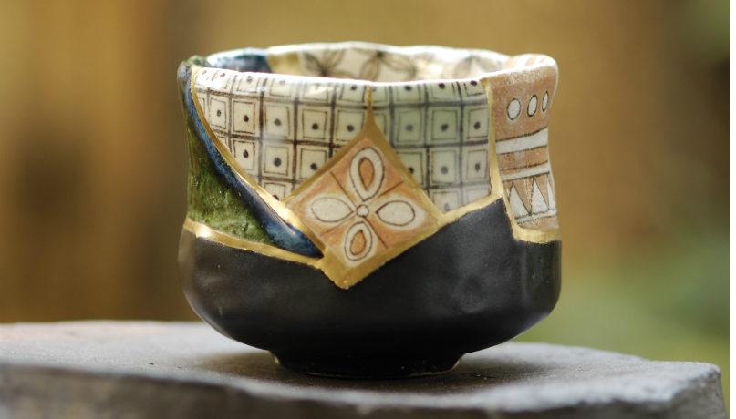 2000 s 呼び継ぎ茶碗 鳴海織部