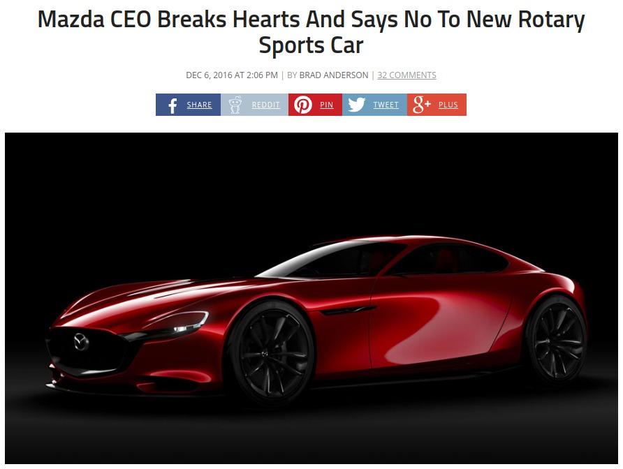 Mazda CEO Breaks Hearts And Says No To New Rotary Sports Car