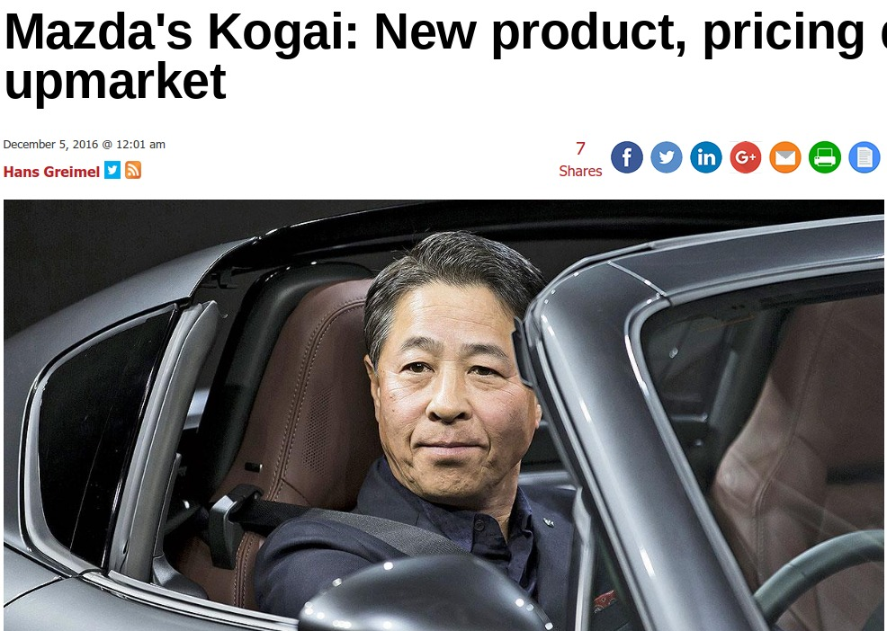 Mazda s Kogai New product pricing drive move upmarket