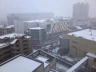 雪の朝交差点