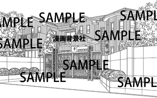 漫画背景素材「豪邸・大金持ちの邸宅」イラスト