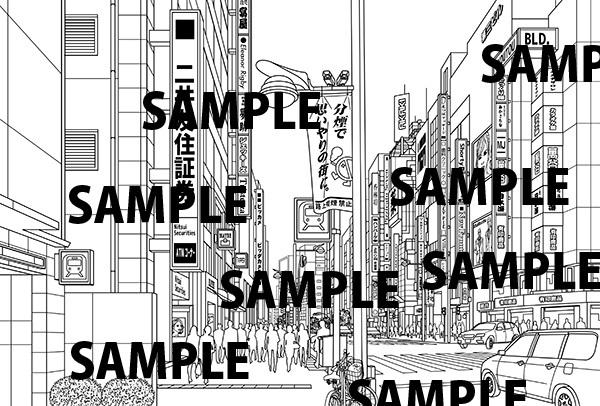 都会の道路(新宿通り)イラスト