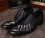 刺繍男性革黒靴メタリックスリップオンドレスファッション2016男性デザイナー靴用男性