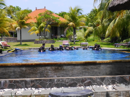 ホテルプールでダイビング