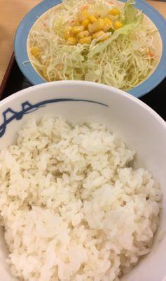 松屋フーズ プルコギ定食 ご飯と生野菜