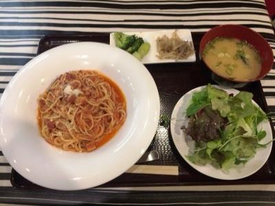161217サンシーロ梅田店アマトリチャーナセット680円