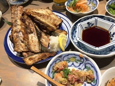 170112いけす酒場ぴち天名駅中落ち焼き大550円、鮮魚のなめろう580円