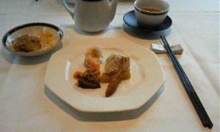 桂花・白身魚と野菜の揚物、香味コース、香の物