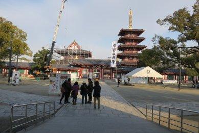 修復中の四天王寺
