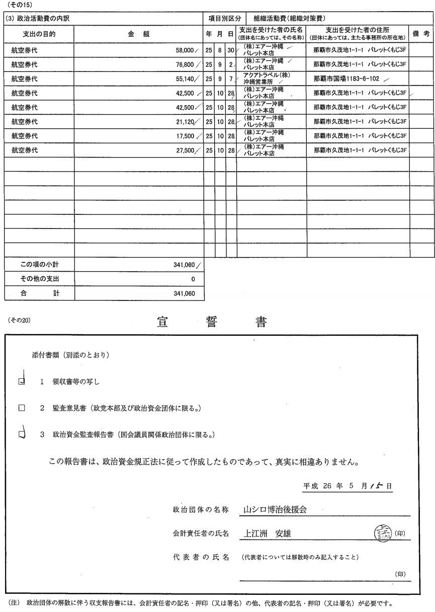 沖縄の社民党テロリスト山城のH25年分収支書3