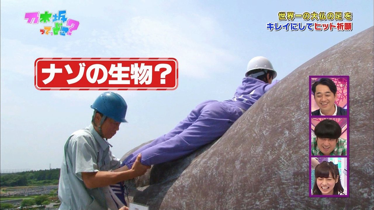 「乃木坂って、どこ?」でジャージを着て大仏に登ろうとする堀未央奈の下半身