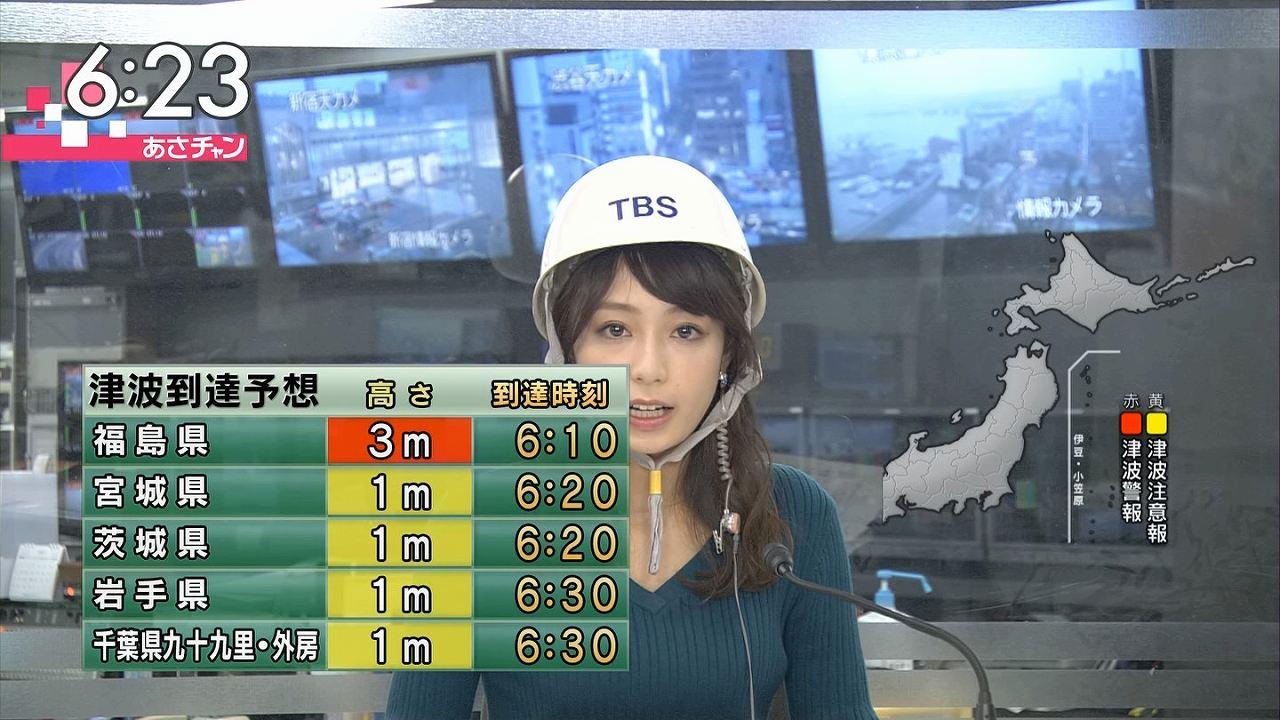 TBS「あさチャン」でヘルメットをかぶりニットを着た宇垣美里アナの着衣巨乳