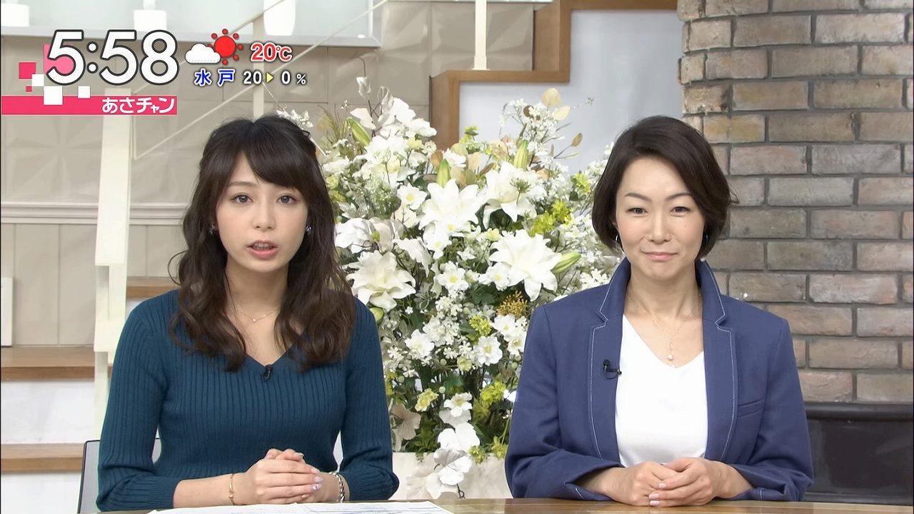 TBS「あさチャン」でニットを着た宇垣美里アナの着衣巨乳