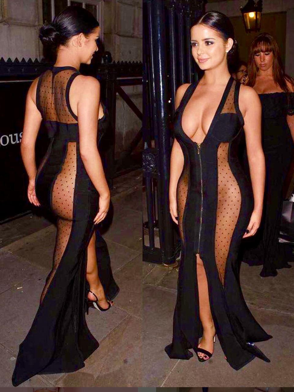 スケスケでおっぱいもお尻も見えまくったドレスを着た下着モデルのデミ・ローズ(Demi Rose)