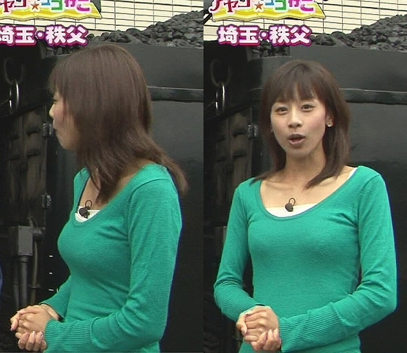 ニットを着た加藤綾子アナの着衣巨乳