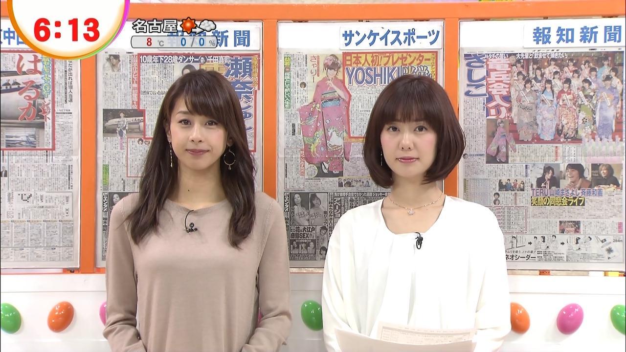 加藤綾子アナの着衣巨乳