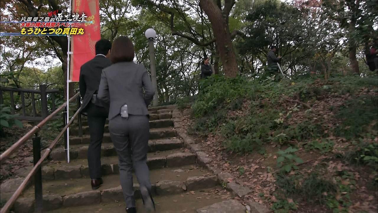 日テレ「片岡愛之助の解明! もうひとつの真田丸」でパンツスーツを着た滝菜月アナのパン線くっきりお尻