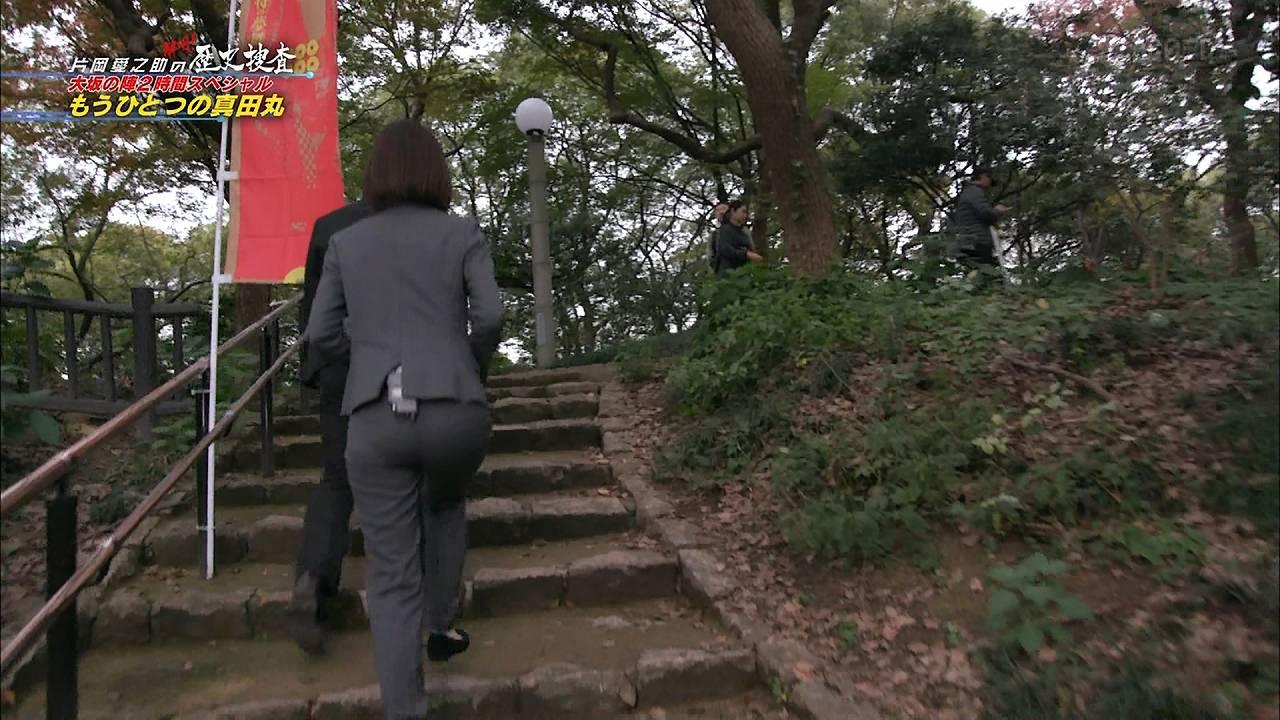 「片岡愛之助の解明! もうひとつの真田丸」でパンツスーツを着た滝菜月アナのパン線くっきりお尻