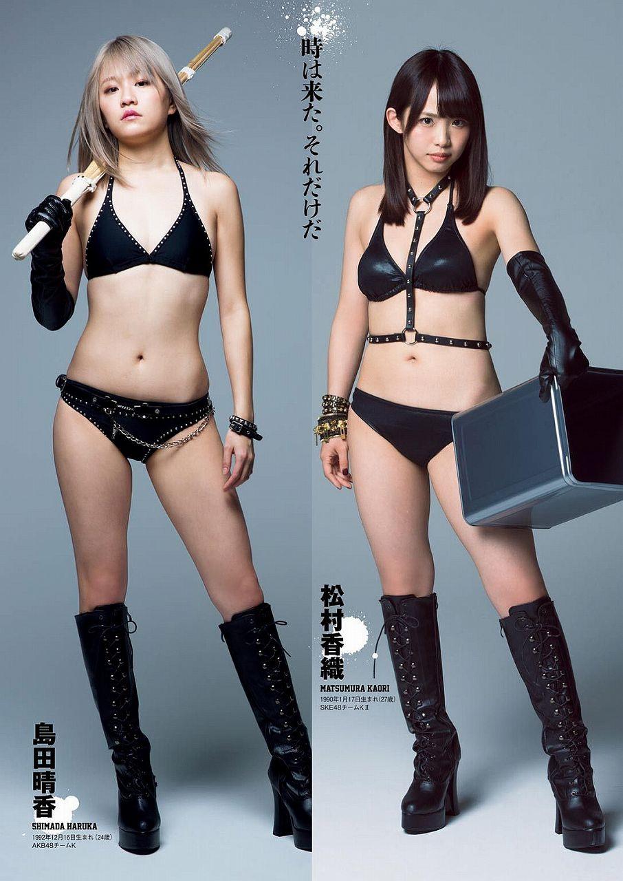 「豆腐プロレス」女子プロレス水着を着た島田晴香と松村香織の水着グラビア
