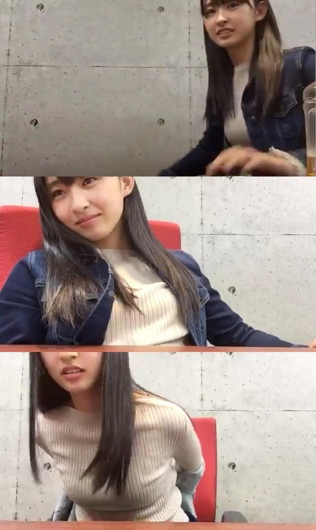 ニットを着たHKT48・松本日向の着衣巨乳