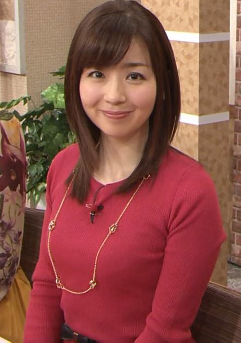 ニットを着た松尾由美子アナの着衣巨乳