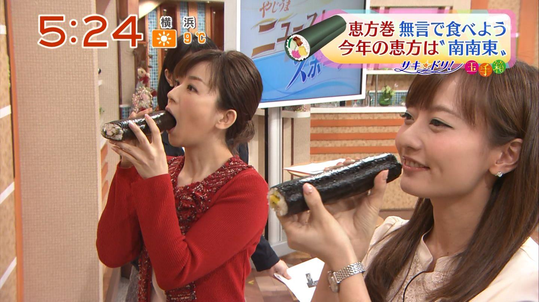 テレ朝「やじうまテレビ!」で恵方巻を食べる松尾由美子アナの疑似フェラ