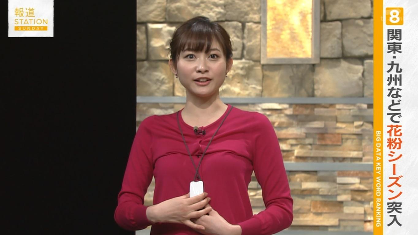 テレ朝「報道ステーション SUNDAY」で薄いニットを着た久冨慶子アナの着衣おっぱい