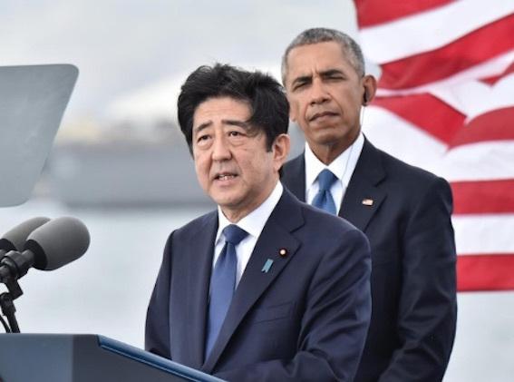 ハワイにて安倍、オバマ