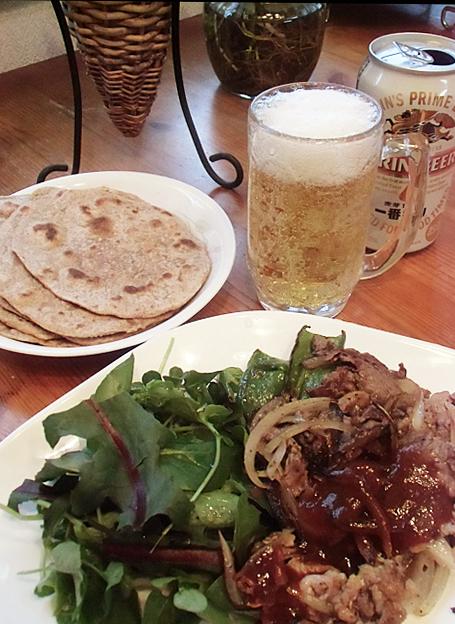 ビールでチャパティ