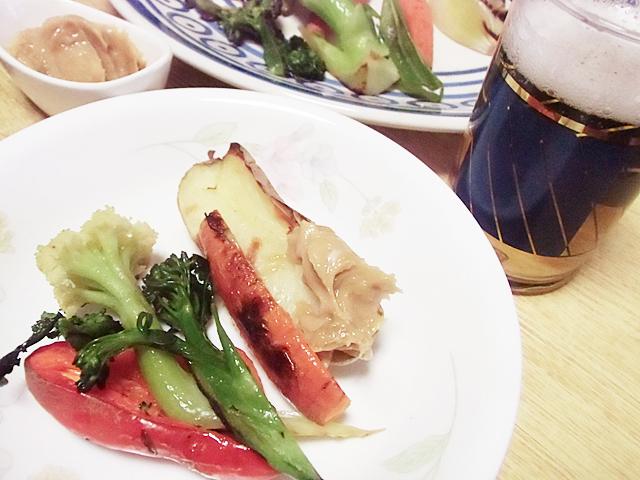 野菜でビールを飲む