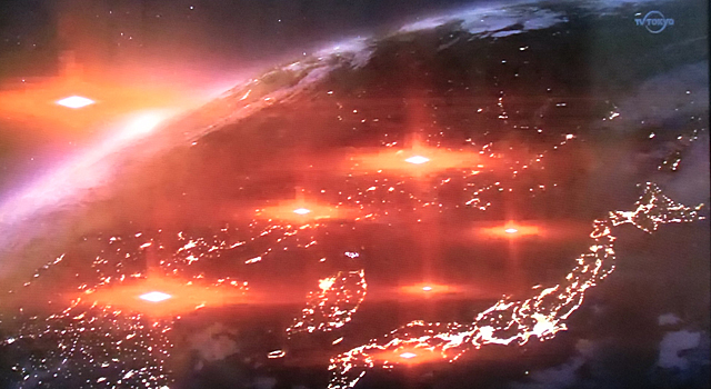 地球を去る宇宙船群