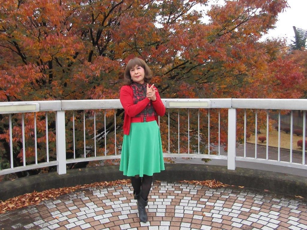 赤カーデ緑スカートB(2)