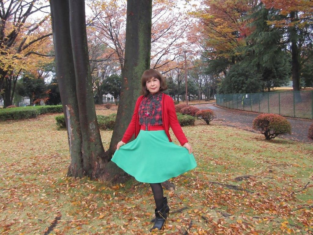 赤カーデ緑スカートC(3)