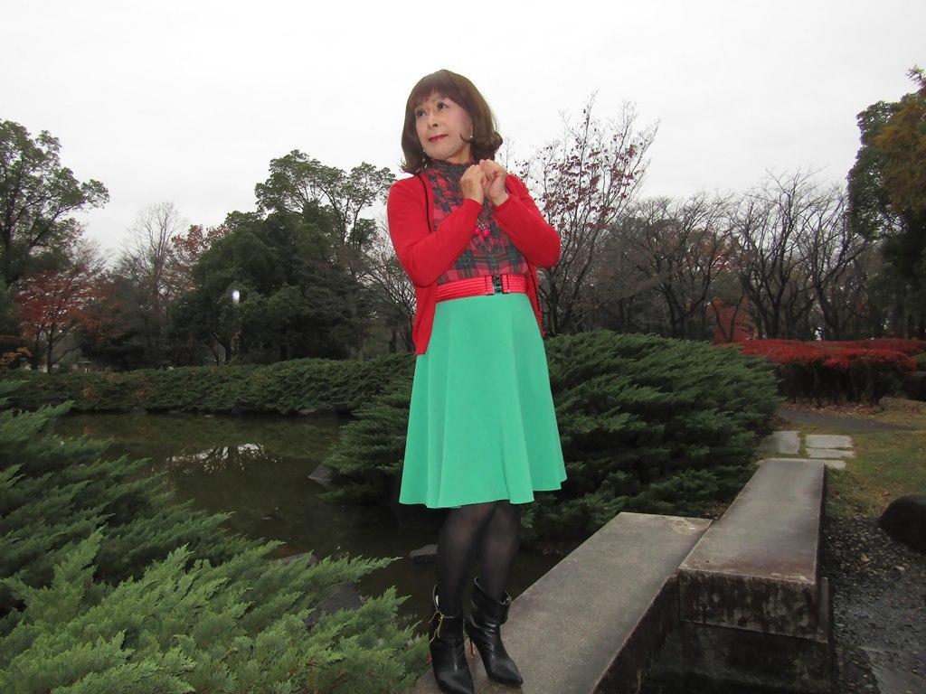 赤カーデ緑スカートD(3)