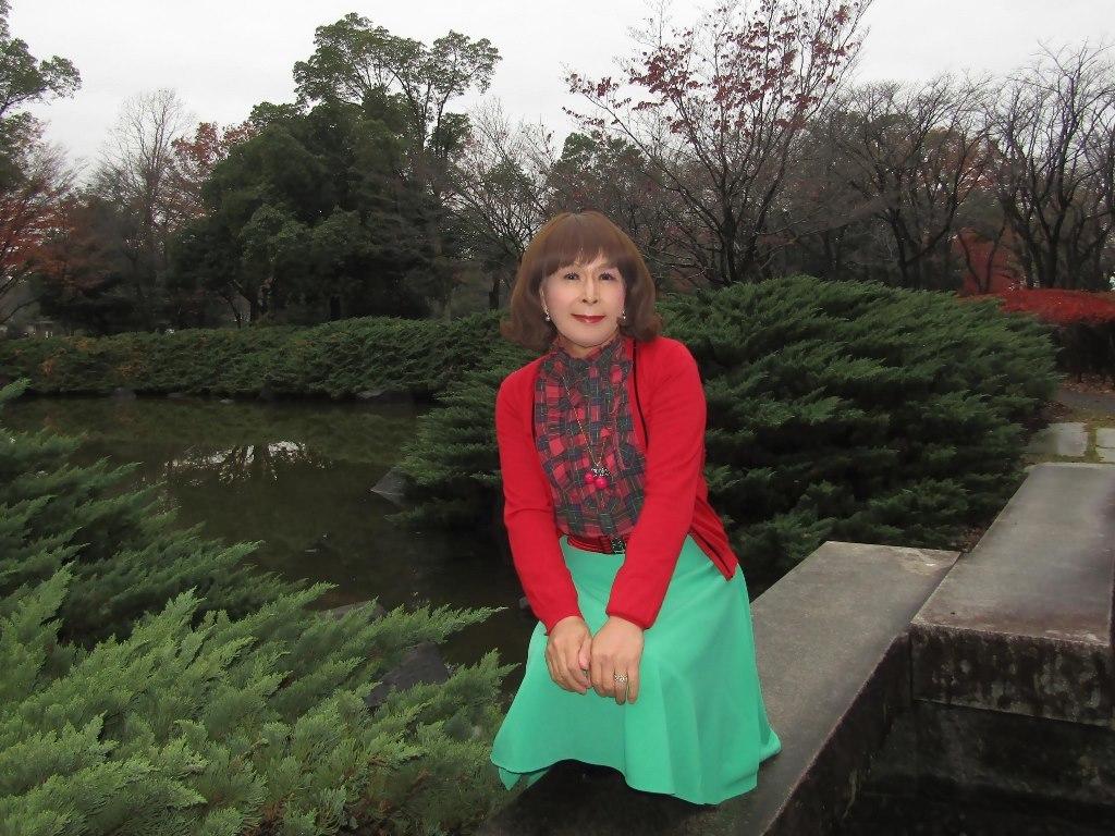 赤カーデ緑スカートD(4)
