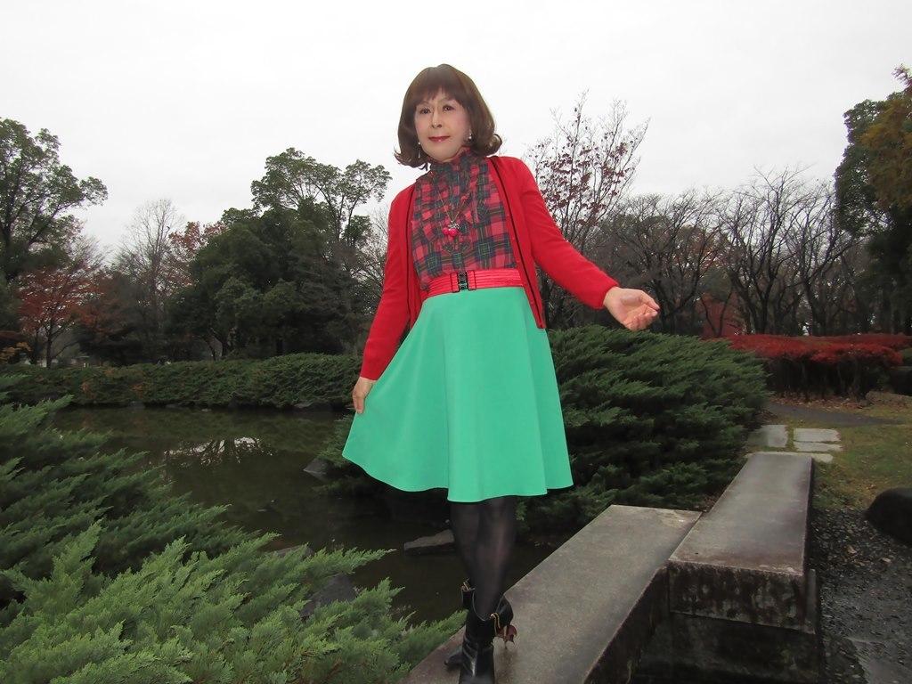 赤カーデ緑スカートD(1)