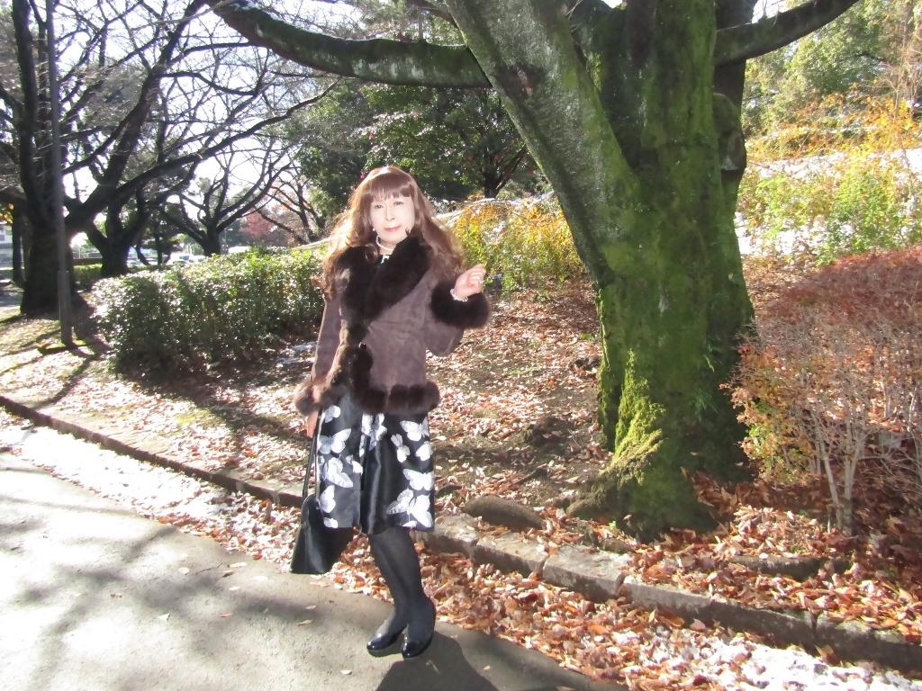 黒地に蝶柄ワンピ公園A(4)