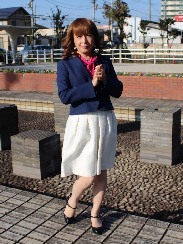 紺ジャケット白フレアースカートA(6)