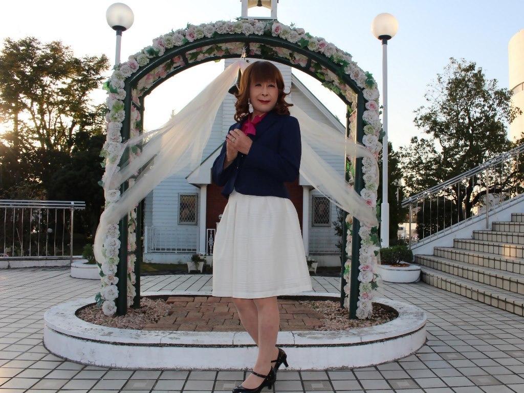 紺ジャケット白フレアースカートC(2)