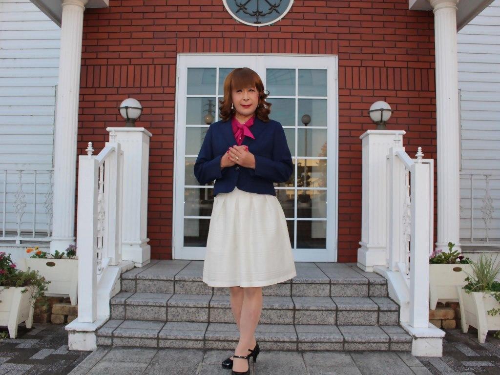 紺ジャケット白フレアースカートC(5)