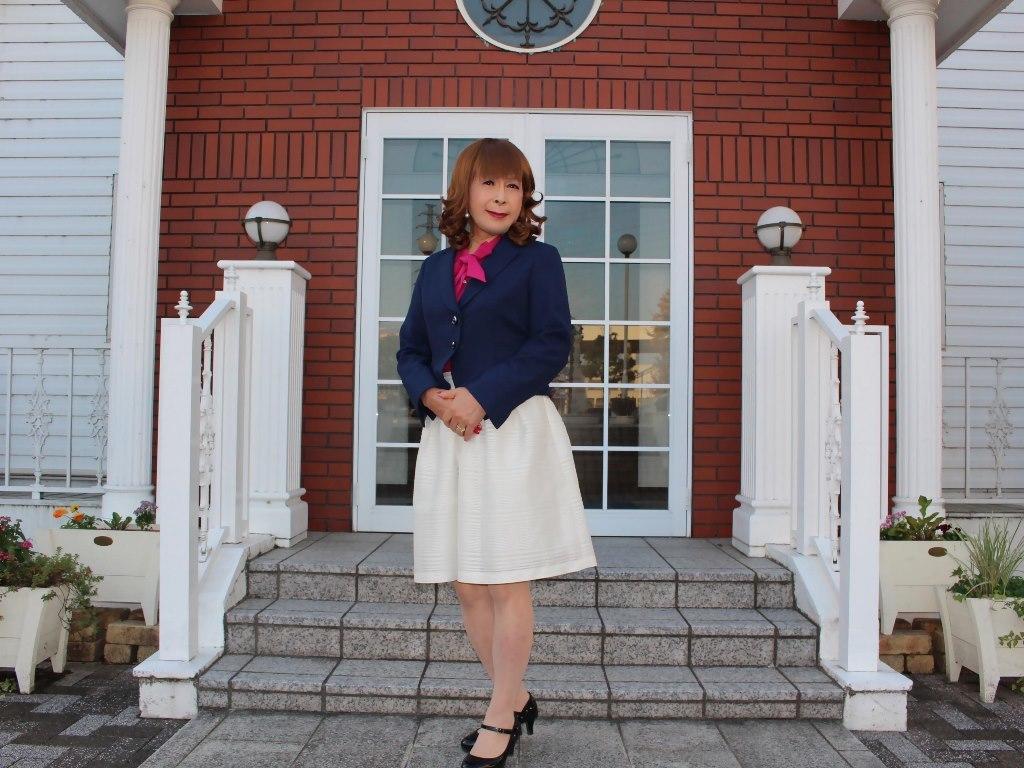 紺ジャケット白フレアースカートC(6)