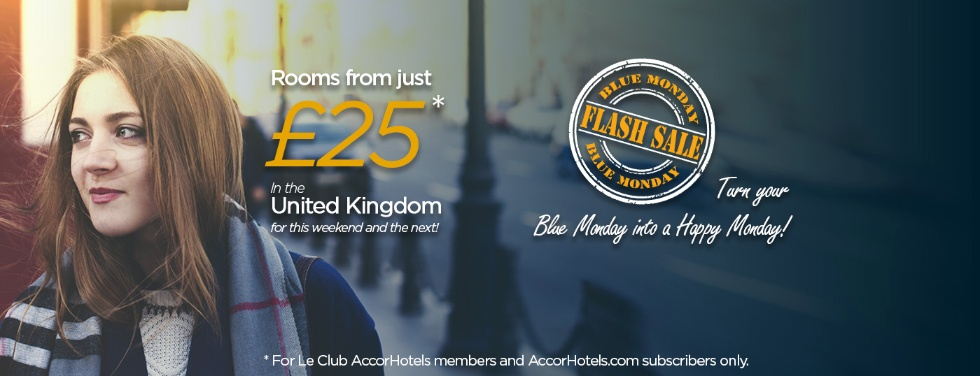 アコーホテルで イギリスを対象とした2日間のフラッシュセール 25ユーロからの固定価格