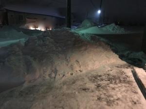 敷地内の雪山