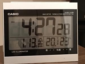-20℃時の朝の室温