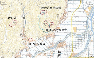 栃川周辺の山城位置図