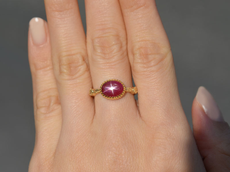 K18スタールビーフィレンツェ彫り手彫りリング指輪