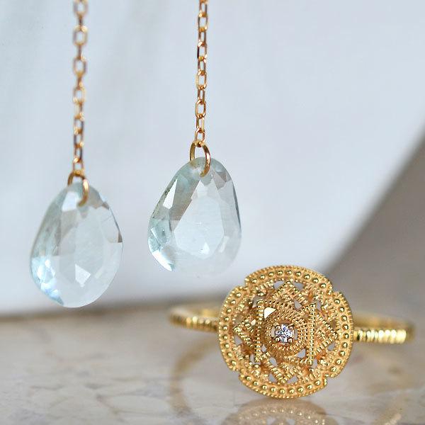 K18YG製イエローゴールドアクアマリンピアスダイアモンドリング指輪