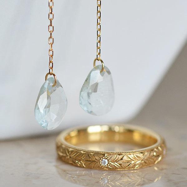 K18YG製イエローゴールドアクアマリンピアスダイアモンド彫金リング指輪