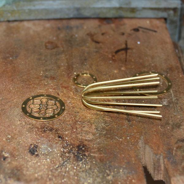 イエローゴールドK18YG製鳥籠鳥かごバードゲージチャームミニチュアペンダント手作りハンドメイド加工2